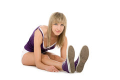 flickan kortsluter white Arkivfoto
