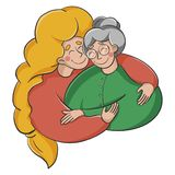 Flickan kramar en äldre kvinna Sondottern kramar hennes farmor arkivbilder