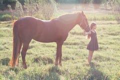 Flickan leder hennes häst Royaltyfria Foton