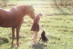 Flickan leder hennes häst och att slå den svarta hunden Arkivbild