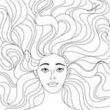 Flickan ligger på henne tillbaka En härlig flicka ser dig Frodigt hår Skissa Freehand för vuxen anti-sida för spänningsfärgläggni Royaltyfri Fotografi