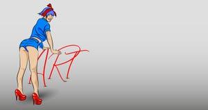 Flickan lutade på ordet KONST royaltyfri illustrationer