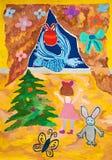 Flickan möter det blåa fågelsymbolet av det nya året Arkivbilder