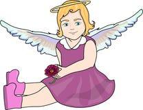 flickan med ängel påskyndar Royaltyfri Foto