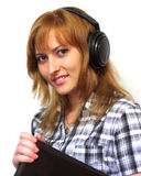 Flickan med bärbar dator Royaltyfri Bild