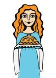 Flickan med bröd och saltar Arkivbilder