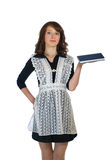 Flickan med en bok i hand Arkivfoto