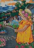 Flickan med en bukett Arkivbilder