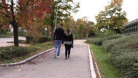 Flickan med en grabb promenerar höstgränden stock video