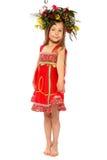 Flickan med en kran på huvudet Royaltyfri Fotografi