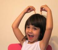 Flickan med fejkar öron Royaltyfria Bilder