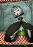 Flickan med framsidan i bur vektor illustrationer