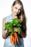 Flickan med grönsaker Royaltyfri Fotografi