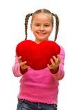 Flickan med hjärtan. arkivbilder