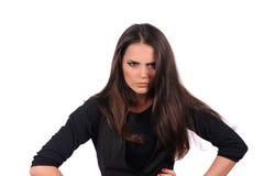 Flickan med incredulous vänder mot uttryck Arkivfoto