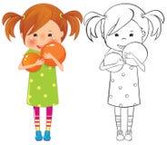 Flickan med klumpa ihop sig Arkivfoton