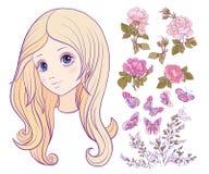 Flickan med kulört långt hår med uppsättningen av steg, fjärilen och kli vektor illustrationer