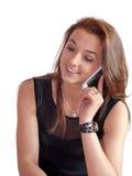 Flickan med mobil ringer Royaltyfri Fotografi