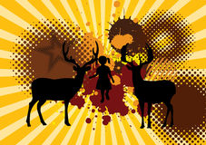 Flickan med plaskar hjortar på grunge Stock Illustrationer