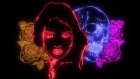 Flickan med skelettet utgör och roslaser-animeringen royaltyfri illustrationer