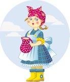 Flickan med tillbringaren av mjölkar Arkivbild