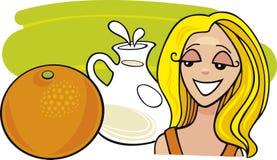 flickan mjölkar orangen stock illustrationer