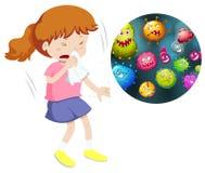 Flickan nyser och hostar från att ha bakterier royaltyfri illustrationer