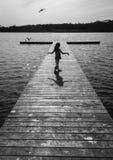 Flickan och fiskmåsen royaltyfri foto