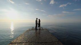 Flickan och grabben är på skeppsdockan stock video