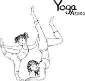 Flickan och kvinnan som gör yoga, poserar, vektorillustrationen Royaltyfria Bilder