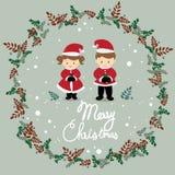 Flickan och pojken bär juldräktvektorn stock illustrationer