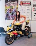 Flickan på motobike royaltyfria foton