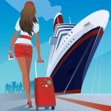 Flickan på pir går till skeppet Royaltyfria Bilder