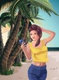 Flickan på stranden vilar havspalmträd, Smartphone Arkivbilder
