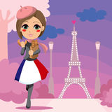 flickan parisien vektor illustrationer