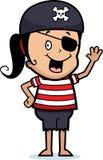 flickan piratkopierar våg Arkivfoto