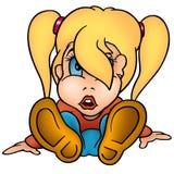 flickan ponytailed stock illustrationer