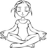 flickan poserar yoga Arkivbild