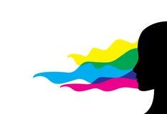 Flickan profilerar i cmyk färgar Fotografering för Bildbyråer