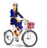 Flickan rider en cykel royaltyfria foton