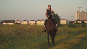 Flickan rider en häst stock video