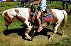Flickan rider en ponnykarusell Arkivfoton
