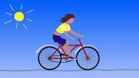 Flickan rider en röd cykel cartoon royaltyfri illustrationer