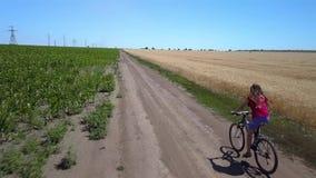Flickan rider längs vägen mellan jordbruks- fält stock video