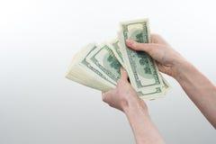 Flickan sade 10000 dollar i hand Royaltyfri Fotografi