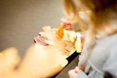 Flickan samlar den gula herbariumen för höstsidor Royaltyfri Foto