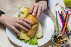 Flickan samlar en smörgås i skola, på blyertspennor för en tabell, gemmar, äpplet, fruktsaft, torkade frukter och läroböcker royaltyfria bilder