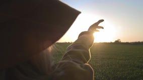 Flickan ser solen till och med hennes hand Kvinna som spelar handen med strålarna av solen Solen skiner till och med hennes fingr lager videofilmer