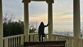 Flickan ser vinterhavet Arkivfoton