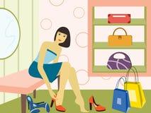flickan shoppar Arkivfoton